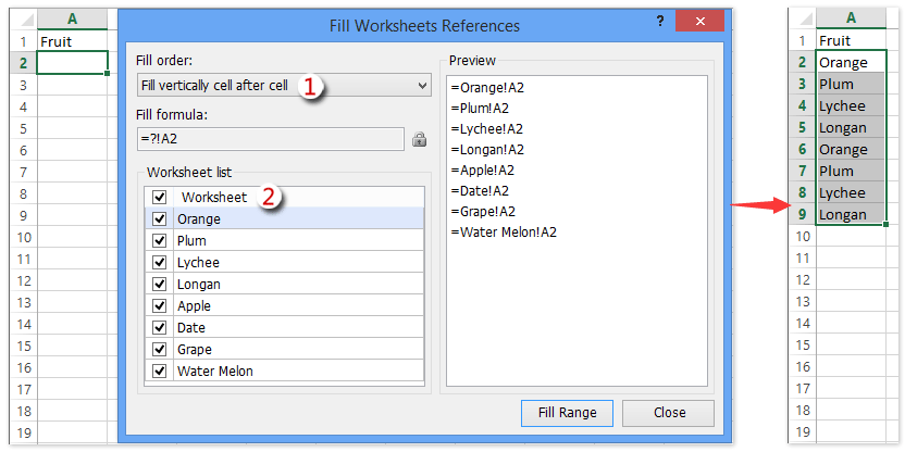 How to define named range across worksheets in Excel?