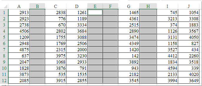 How to delete multiple empty columns quickly in Excel?