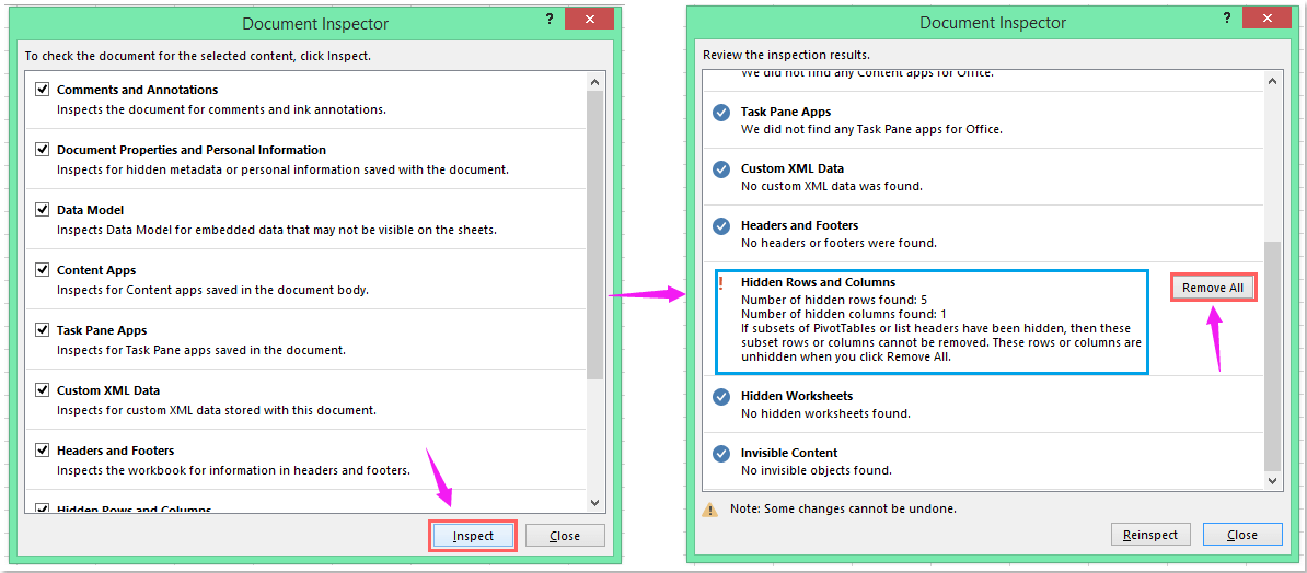 How to delete all hidden rows or columns in Excel?