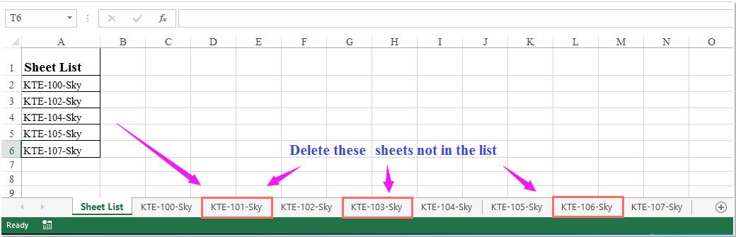 doc delete sheet not in list 1