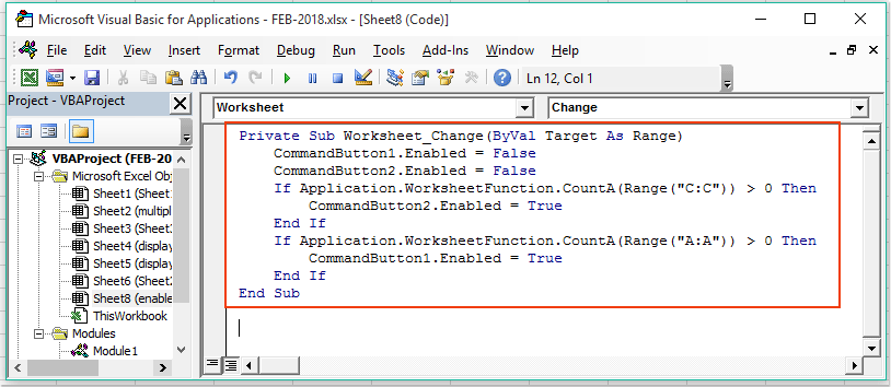 How to enable or disable button based on cell value in Excel?