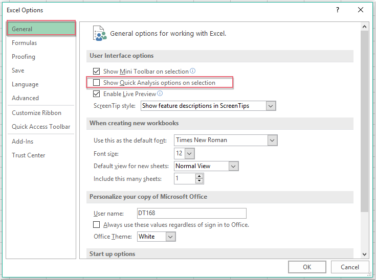 How to turn off or disable the Quick Analysis Feature in Excel?