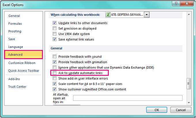 How to disable update links message when open a workbook?