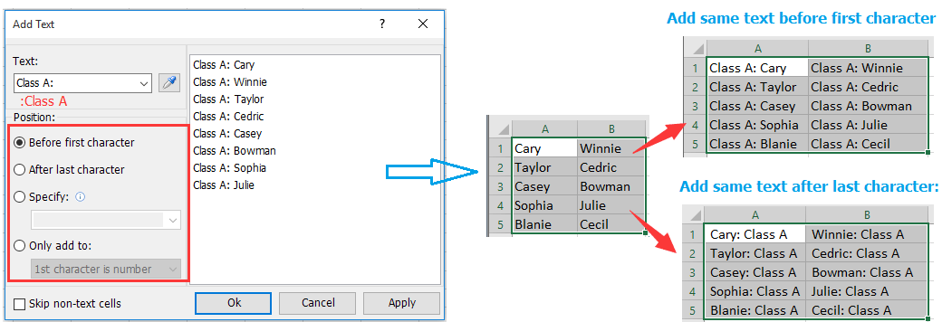 How to plus text to cell value in Excel?