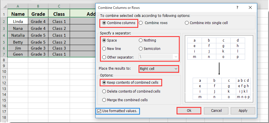 How to add words/texts from different cells together in Excel?