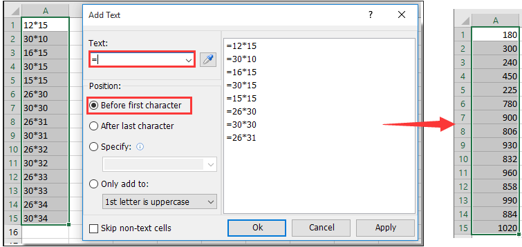 How to automatically insert equal sign in cells with numbers in Excel?