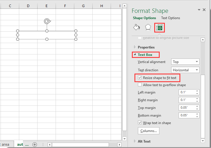 How to automatically resize the text box to fit the content