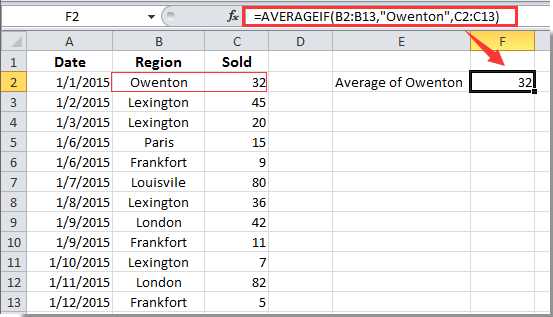 How to calculate average in a column based on criteria in