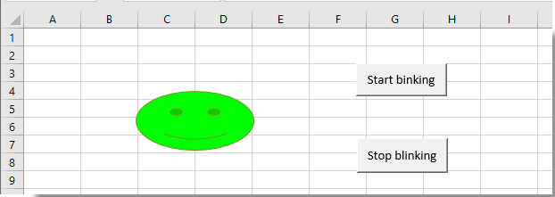 How to make a shape blinking or flashing over and over in Excel?