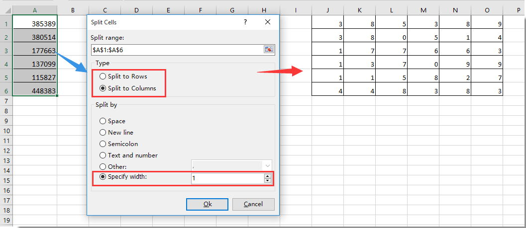 How to break or split number into individual digits in Excel?