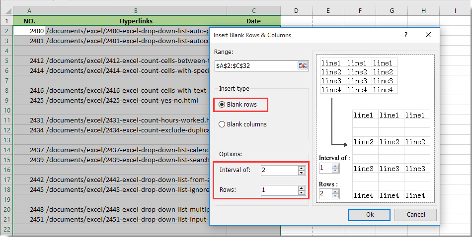 How to insert a blank new row automatically by Command
