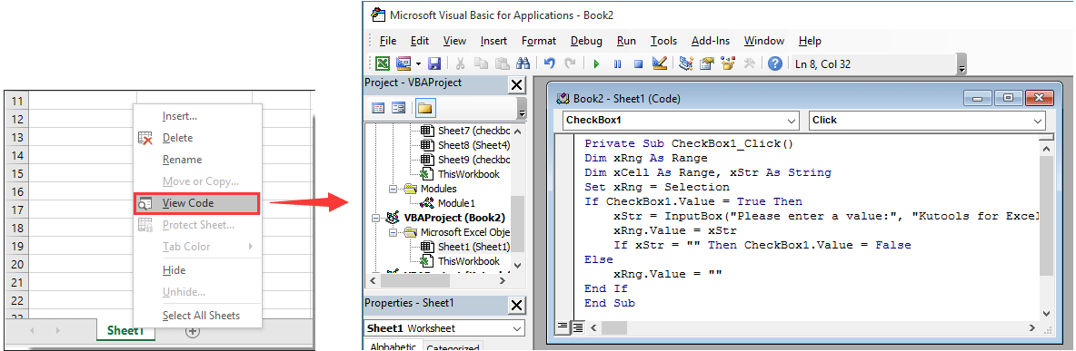 How to change a specified cell value or color when checkbox