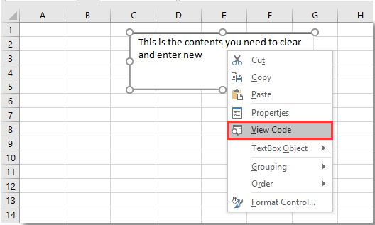 How to clear contents of textbox when clicked in Excel?