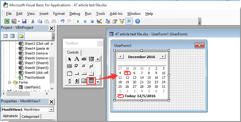 How to pop up a calendar when clicking a specific cell in Excel?