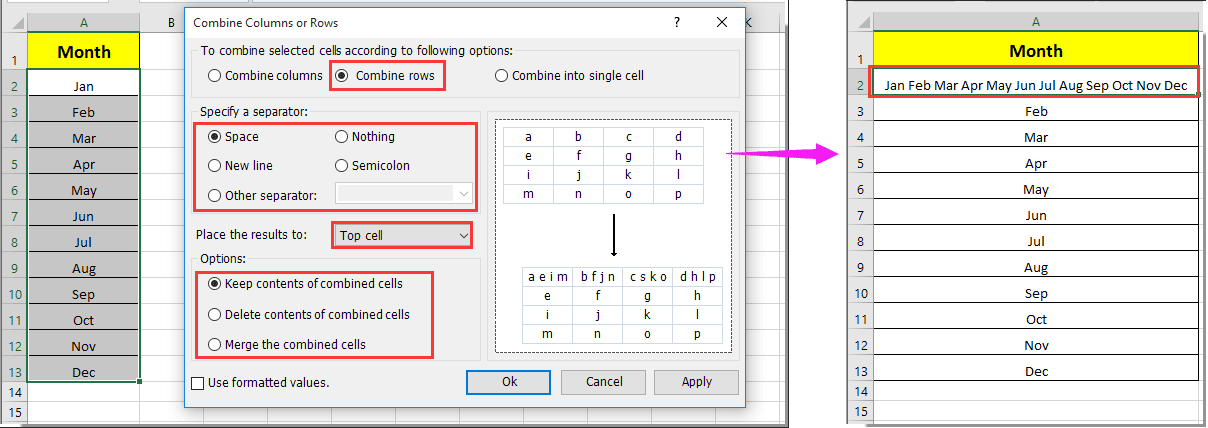 How to combine multiple rows to one cell in Excel?