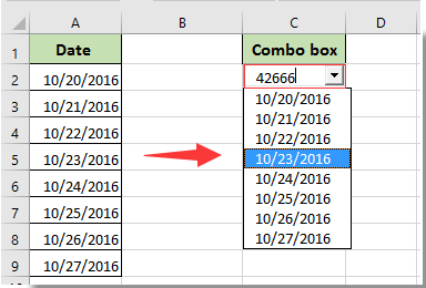 How to display date format in combo box output in Excel?