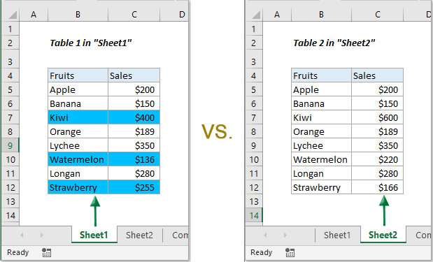 How to compare two worksheets in a workbook or two workbooks ...