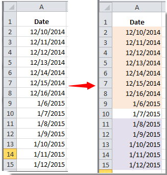 How to conditional format dates less than/greater than today