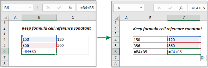 How to keep formula cell reference constant in Excel?