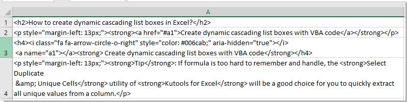 Comment Convertir Html En Texte Dans Des Cellules Dans Excel