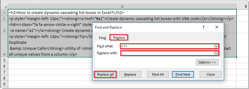 How to convert html to text in cells in Excel?