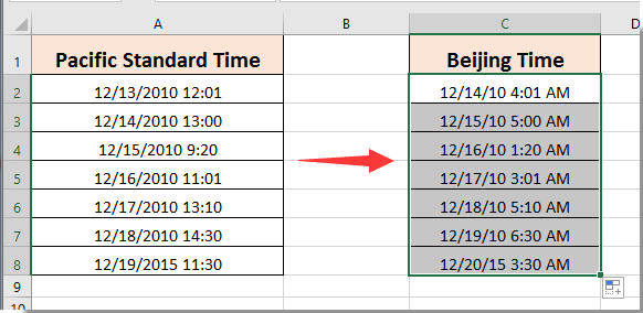 3 Drag The Fill Handle Down To Get All Beijing Time Based On Pst As Below Screenshot Shown