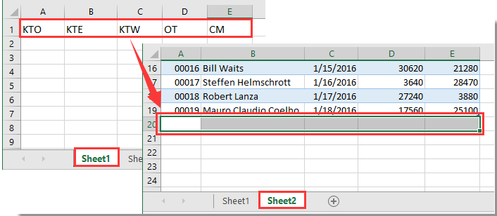 How to copy data to next empty row of another worksheet in Excel?