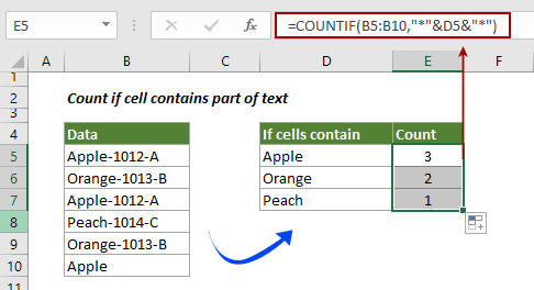 How to count if cell contains text or part of text in Excel?