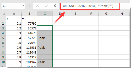 How to count number of peaks in a column of data in Excel?