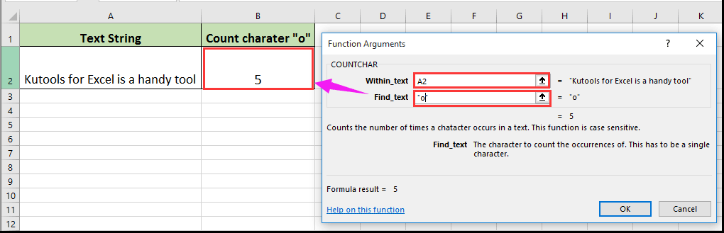 How to count occurrences of specific character in a cell in