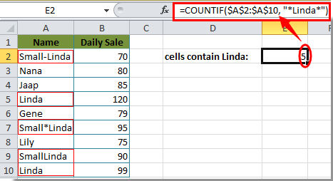 How to count cells with specific text in selection in Excel?