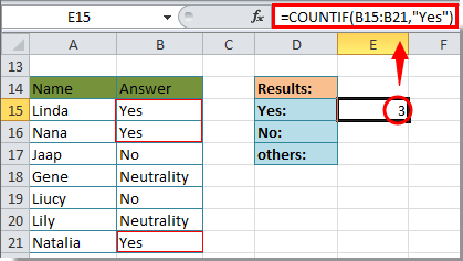 "How to count number of ""Yes"" or ""No"" answer in Excel?"