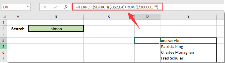 How to create your own search box in Excel?