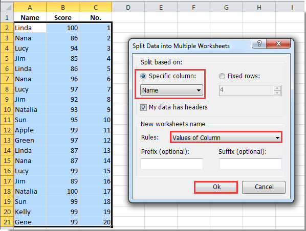 How to create new sheets for each row in Excel?
