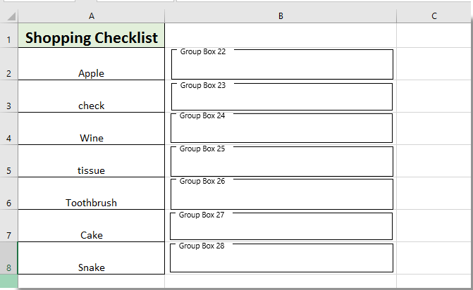 How to create Yes or No checkboxes in Excel?
