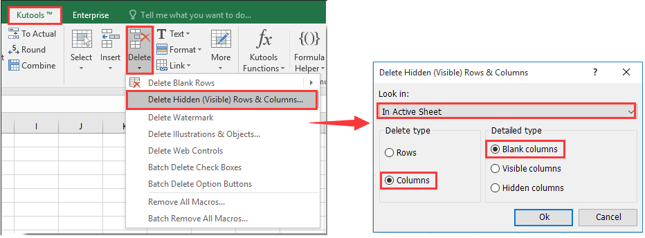 How to delete extra empty or blank pages in a worksheet in Excel?