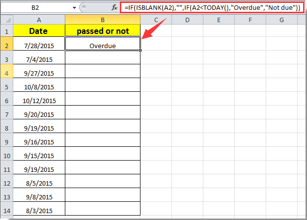 How to determine if date has passed in Excel?