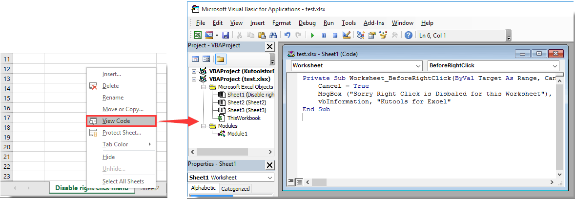 How to disable the right click menu in specified worksheet