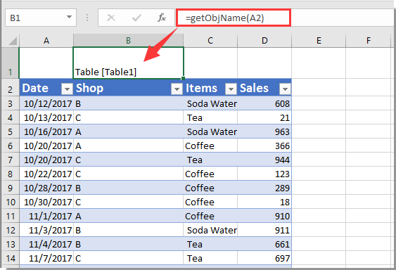 how to display table or pivot table name in a cell in excel