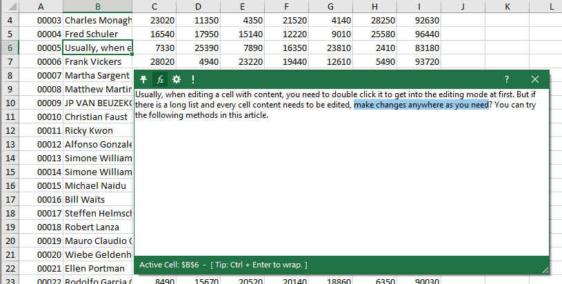How to type in or edit cell without double clicking it in Excel?