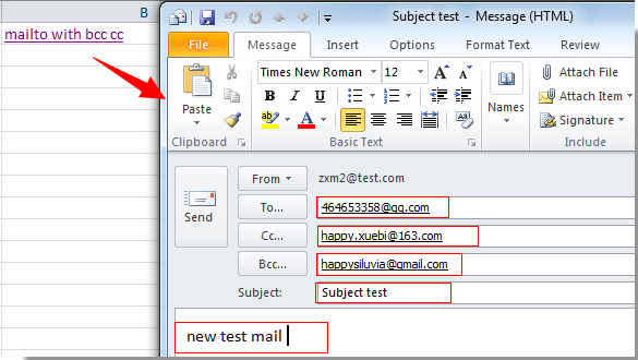 How to auto email with cc or bcc field by mailto function in Excel?