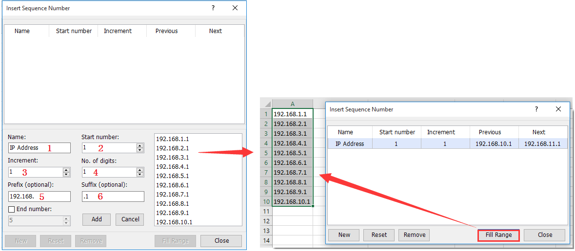 How to fill down IP Address with increment in Excel?