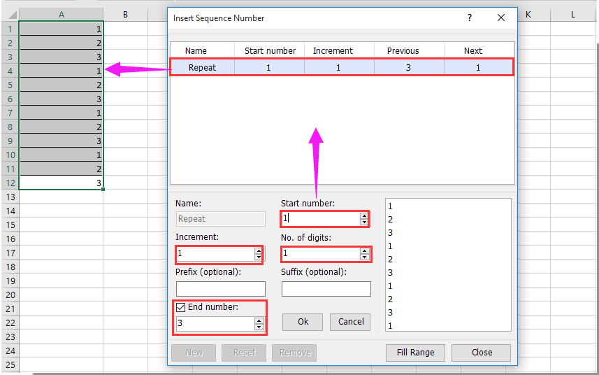 How to fill column with series repeating pattern numbers in