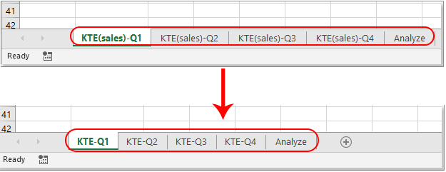 How to find and replace sheet tab names in Excel?