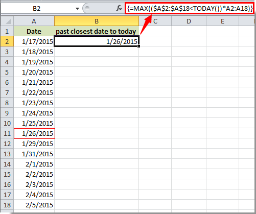 How to find the closest date to today on a list in Excel?