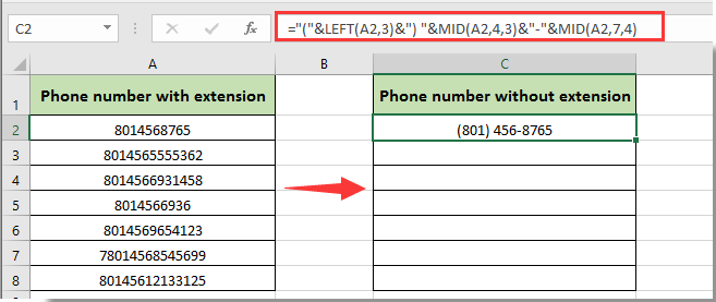 how to format phone number with extension in excel
