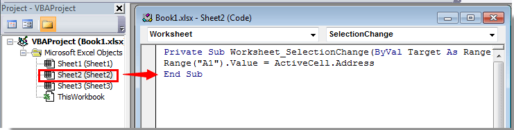 How to get the address of active cell in Excel?
