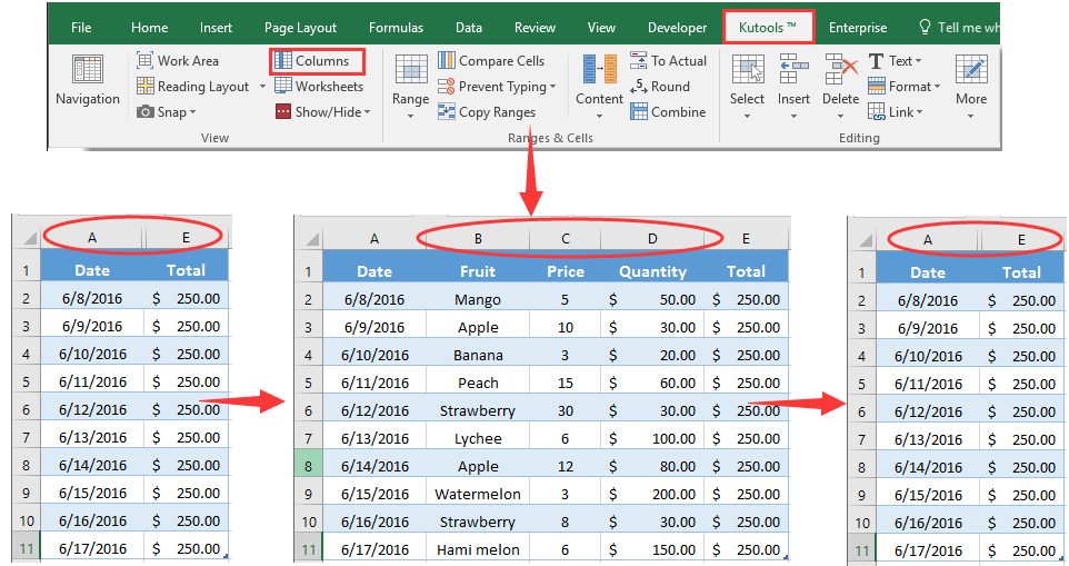 How to hide or unhide columns based on drop down list