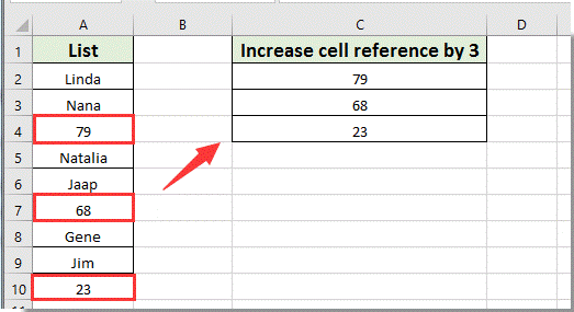 How to increase or increment cell reference by X in Excel?