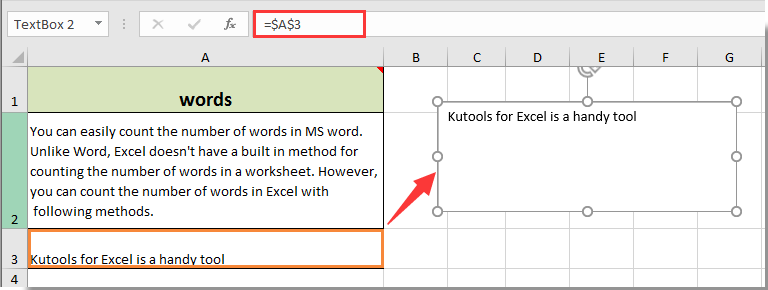 How to link textbox to a specific cell in Excel?